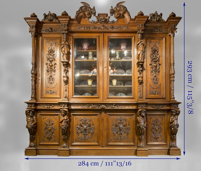 Richly carved Neo-Renaissance style buffet-21