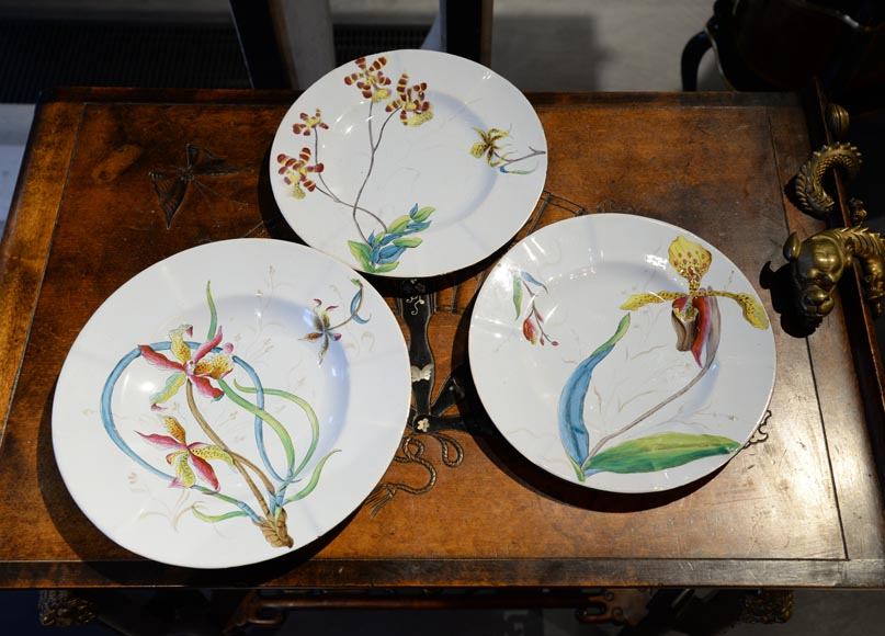 SAINT-CLEMENT manufactory - Plate set with orchids-1