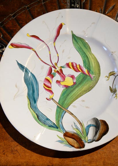SAINT-CLEMENT manufactory - Plate set with orchids-5
