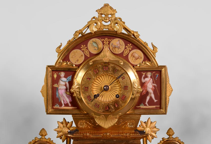 Neo-Pompeian style clock set made out of gilded bronze and red ceramic-2