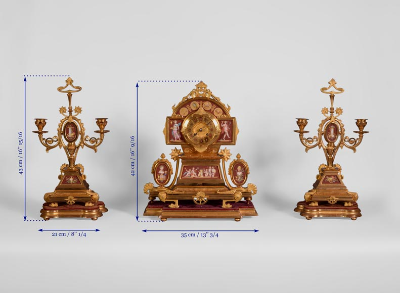 Neo-Pompeian style clock set made out of gilded bronze and red ceramic-11