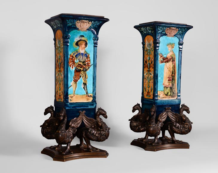 Pair of Neo-Renaissance style earthenware cones vases with brown patina bronze griffins-1