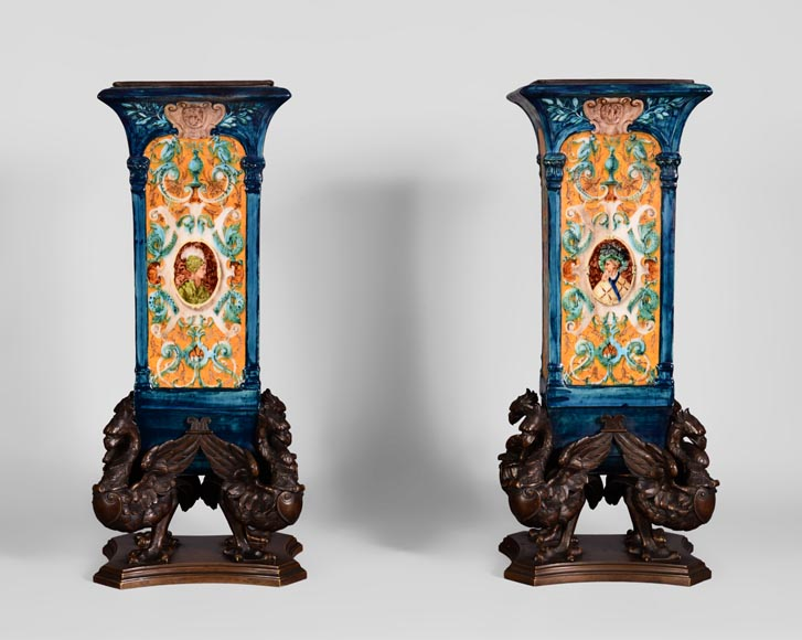 Pair of Neo-Renaissance style earthenware cones vases with brown patina bronze griffins-6