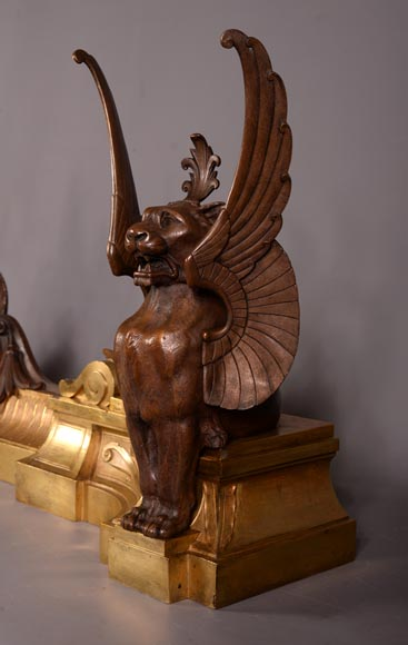 Antique pair of Napoleon III style fire fender made of gilt bronze and brown patina bronze with winged lions-3