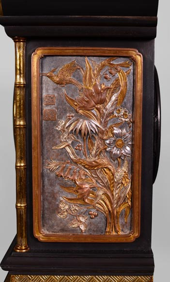 Japanese style set clock with polychrome bronze decoration-7