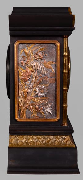 Japanese style set clock with polychrome bronze decoration-8
