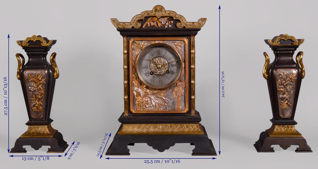 Japanese style set clock with polychrome bronze decoration-15