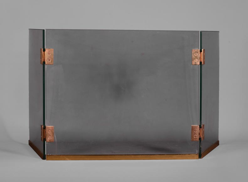 Triptych-shaped firescreen in glass and brass, 1970s - Reference 10925