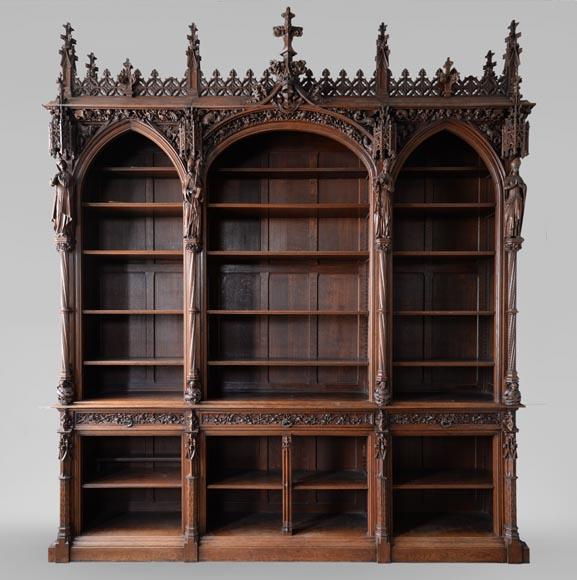 A large neo-Gothic oak library that once belonged to Abbé Cochet-0