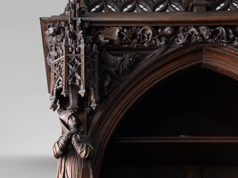 A large neo-Gothic oak library that once belonged to Abbé Cochet-4
