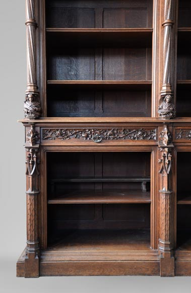 A large neo-Gothic oak library that once belonged to Abbé Cochet-6