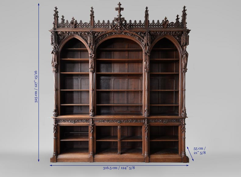 A large neo-Gothic oak library that once belonged to Abbé Cochet-10