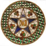 Stained glass rose window with star