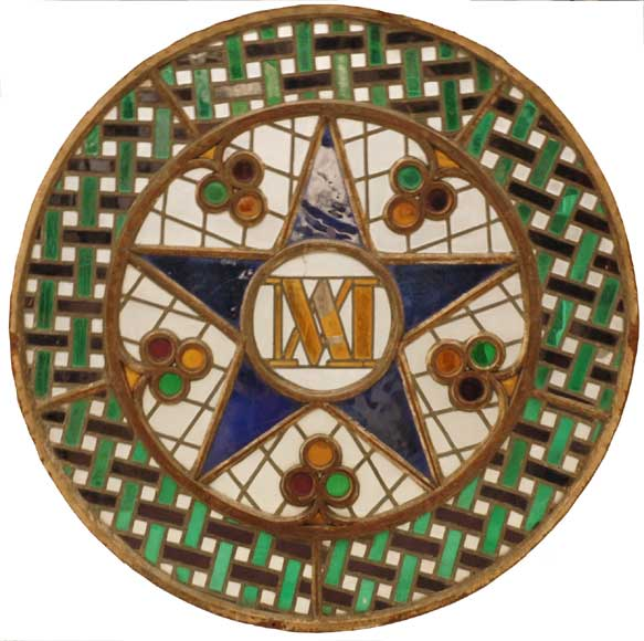Stained glass rose window with star-0