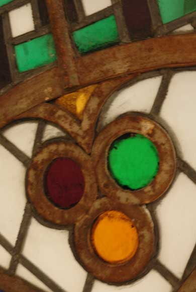 Stained glass rose window with star-2