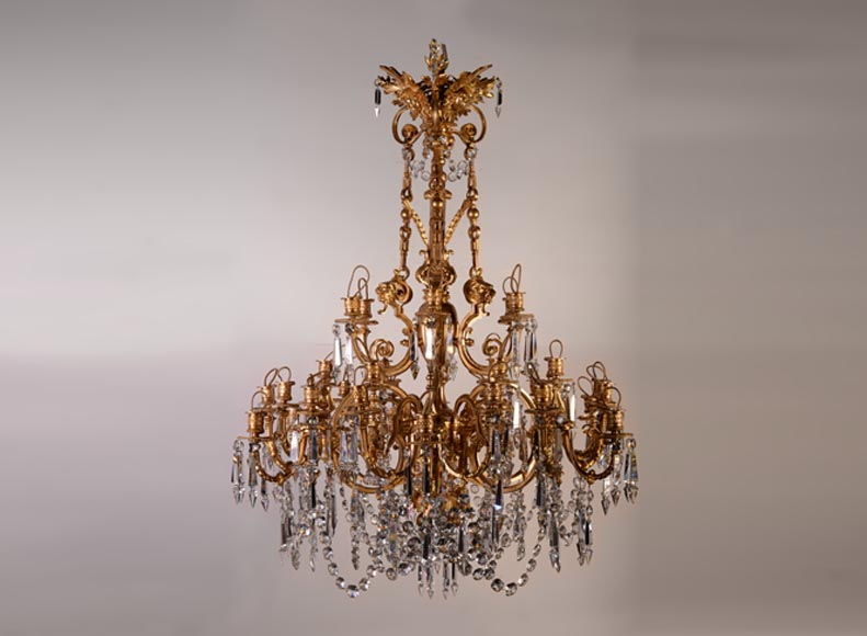 An antique Napoleon III style chandelier with lion's heads and masks-0