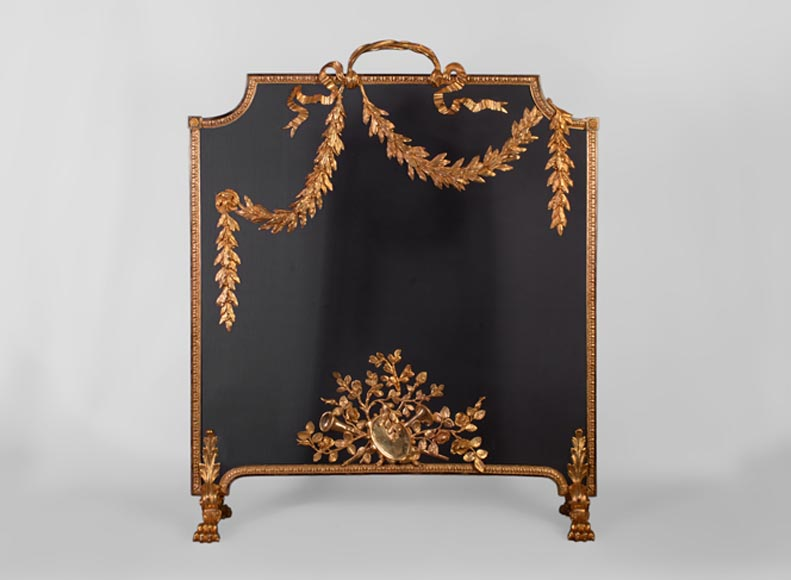 Beautiful antique Napoleon III style firescreen in gilt bronze with asymmetrical laurel branches - Reference 10935