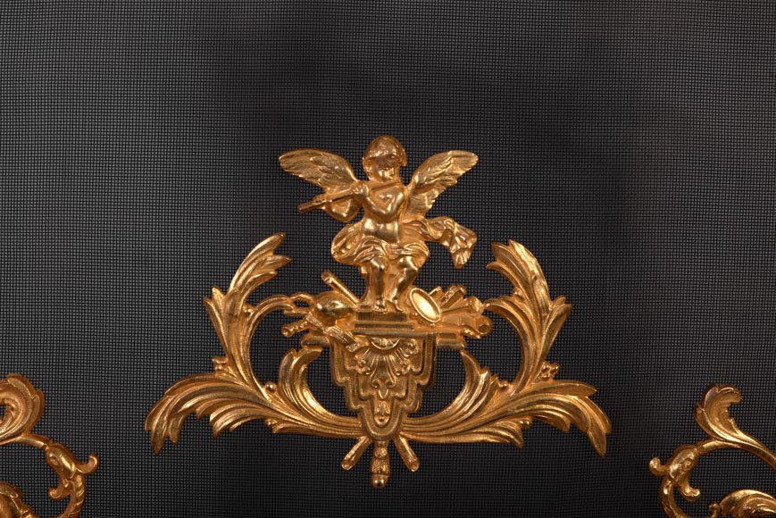Antique Napoleon III style firescreen in gilt bronze with putto playing the flute-4