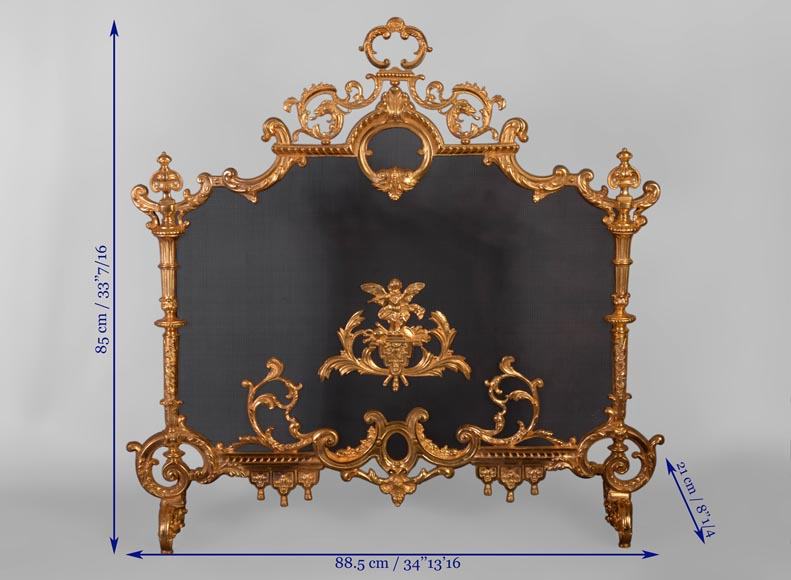 Antique Napoleon III style firescreen in gilt bronze with putto playing the flute-9
