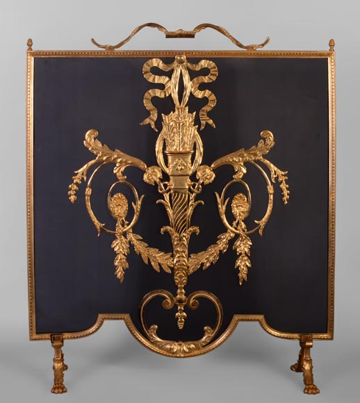 Beautiful antique Louis XVI style firescreen in gilt bronze with quiver-0