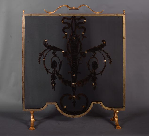 Beautiful antique Louis XVI style firescreen in gilt bronze with quiver-6