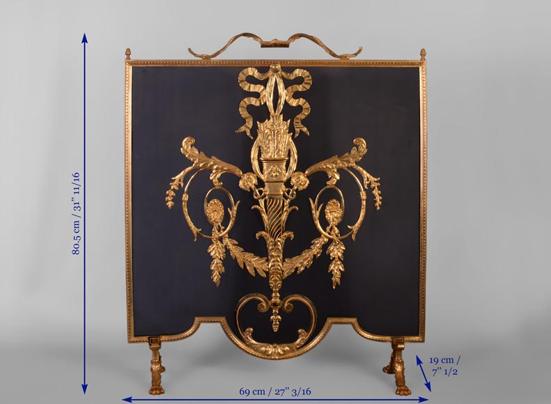 Beautiful antique Louis XVI style firescreen in gilt bronze with quiver-7