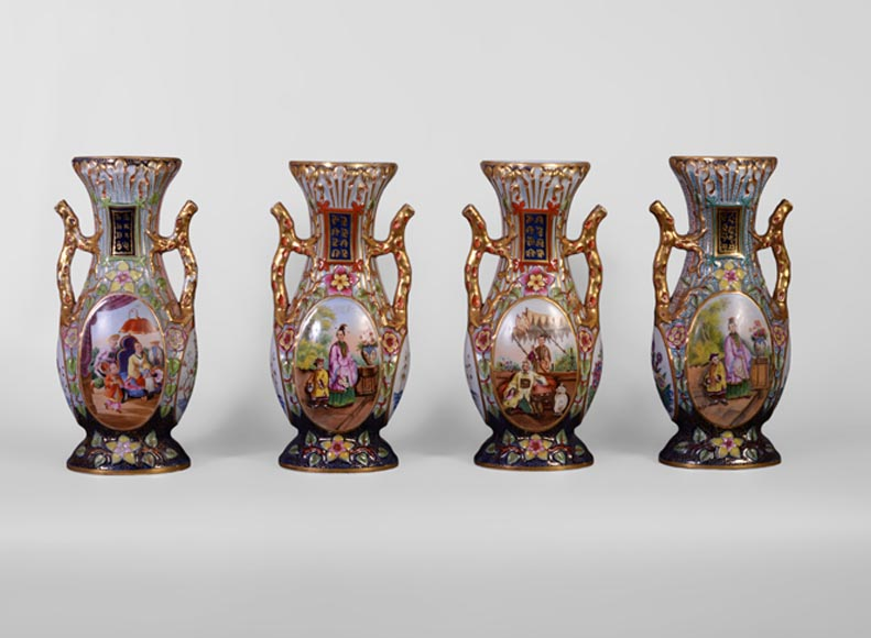 BAYEUX MANUFACTURE - Four vases with polychrome and gold decoration with Chinese-0