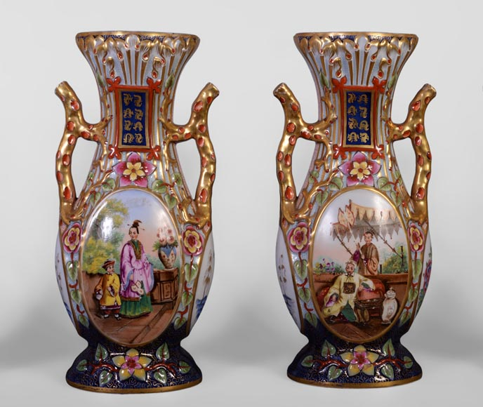 BAYEUX MANUFACTURE - Four vases with polychrome and gold decoration with Chinese-1