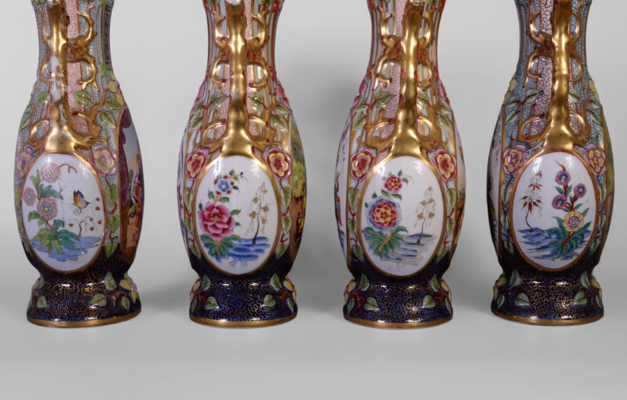BAYEUX MANUFACTURE - Four vases with polychrome and gold decoration with Chinese-6