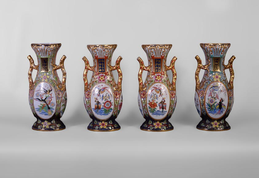 BAYEUX MANUFACTURE - Four vases with polychrome and gold decoration with Chinese-7