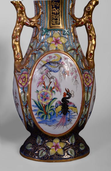BAYEUX MANUFACTURE - Four vases with polychrome and gold decoration with Chinese-8