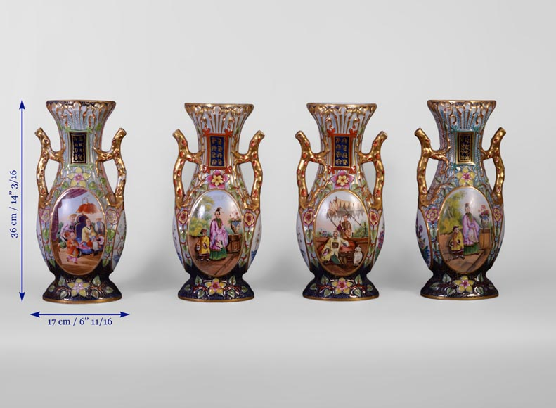 BAYEUX MANUFACTURE - Four vases with polychrome and gold decoration with Chinese-9