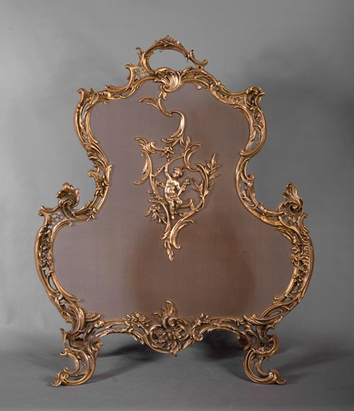 Louis XV style firescreen with Cupid in bronze, 1970's-0