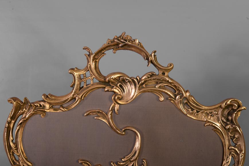 Louis XV style firescreen with Cupid in bronze, 1970's-1