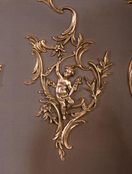 Louis XV style firescreen with Cupid in bronze, 1970's-2