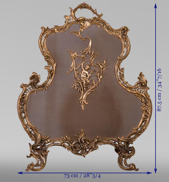 Louis XV style firescreen with Cupid in bronze, 1970's-8