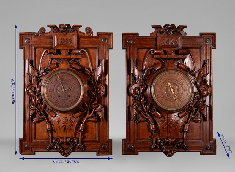 GUERET Frères - Set including an oak clock and barometer-13