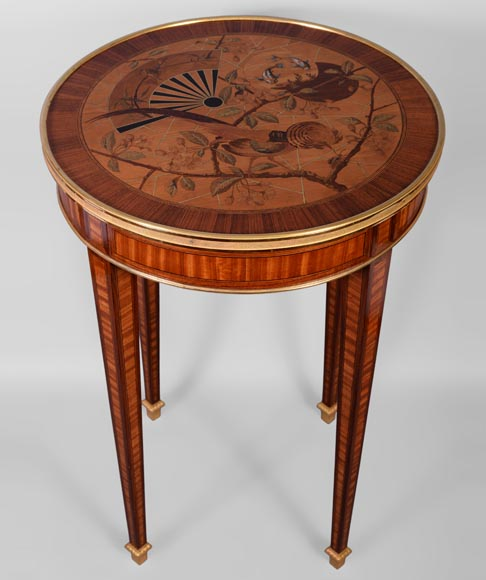 Pierre-Ferdinand DUVINAGE (1823-1876) - Pedestal table with Japanese decoration of