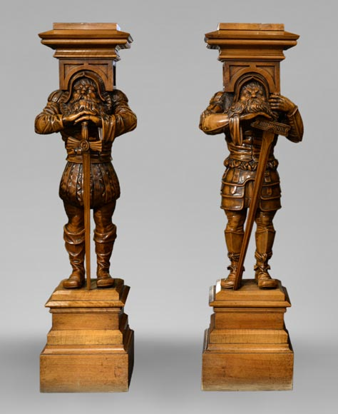 Pair of Neo-Gothic style stands with warriors in medieval costume-0