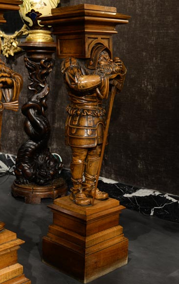 Pair of Neo-Gothic style stands with warriors in medieval costume-1