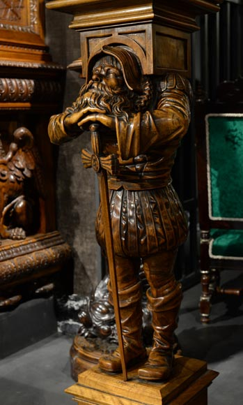 Pair of Neo-Gothic style stands with warriors in medieval costume-7