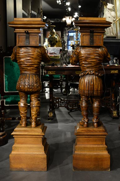 Pair of Neo-Gothic style stands with warriors in medieval costume-11