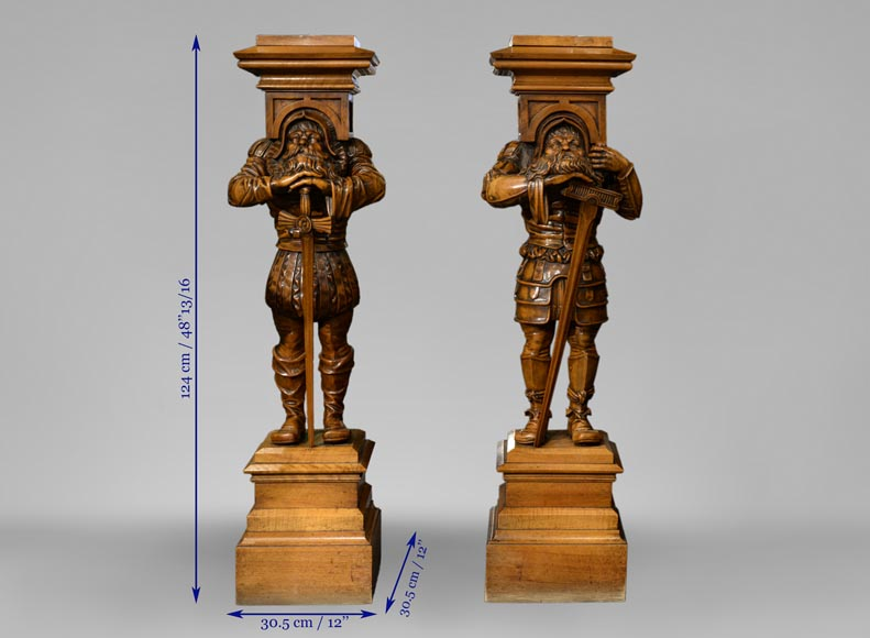 Pair of Neo-Gothic style stands with warriors in medieval costume-13