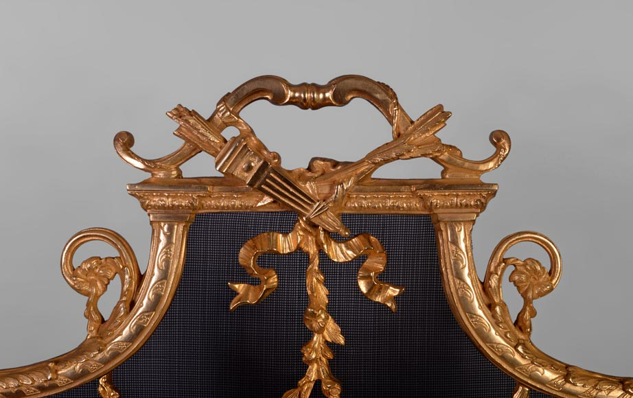 Antique Louis XVI style gilt bronze firescreen in the shape of arbalest and with a quiver-1