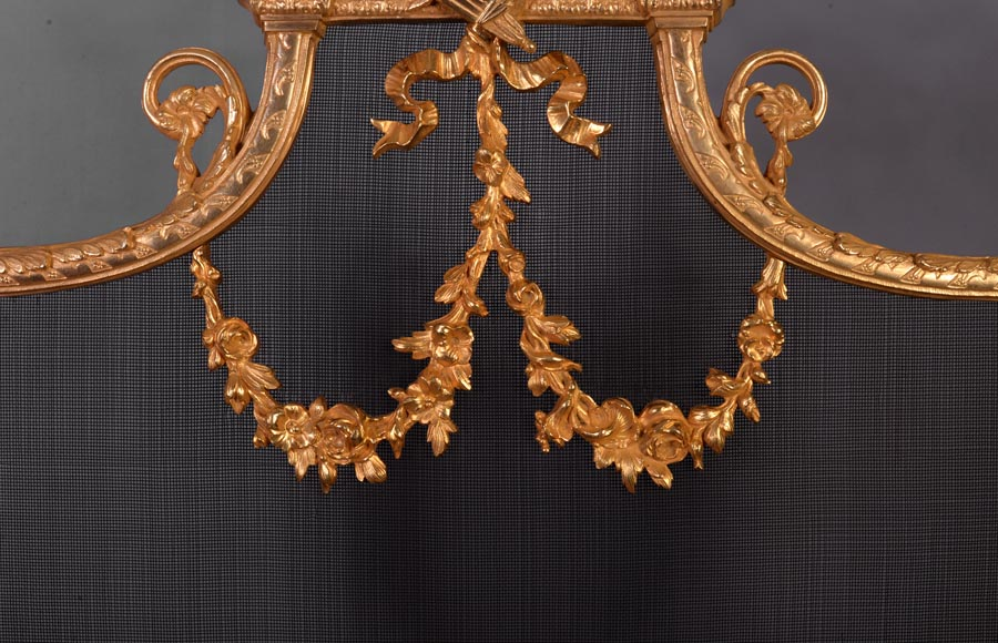 Antique Louis XVI style gilt bronze firescreen in the shape of arbalest and with a quiver-2