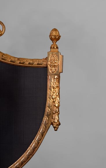 Antique Louis XVI style gilt bronze firescreen in the shape of arbalest and with a quiver-3