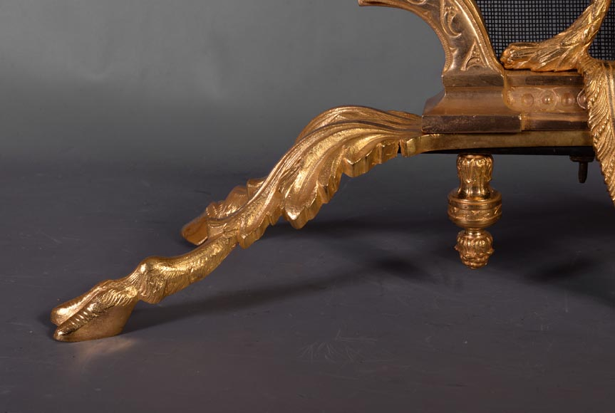 Antique Louis XVI style gilt bronze firescreen in the shape of arbalest and with a quiver-5
