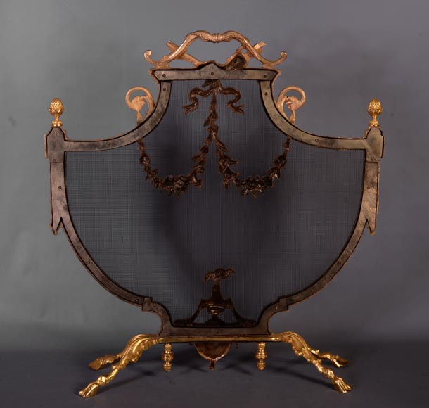 Antique Louis XVI style gilt bronze firescreen in the shape of arbalest and with a quiver-6