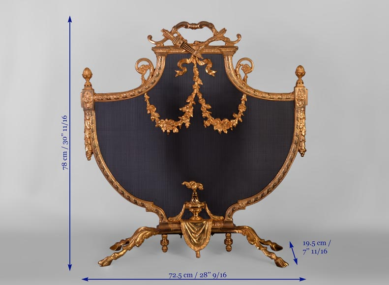 Antique Louis XVI style gilt bronze firescreen in the shape of arbalest and with a quiver-7