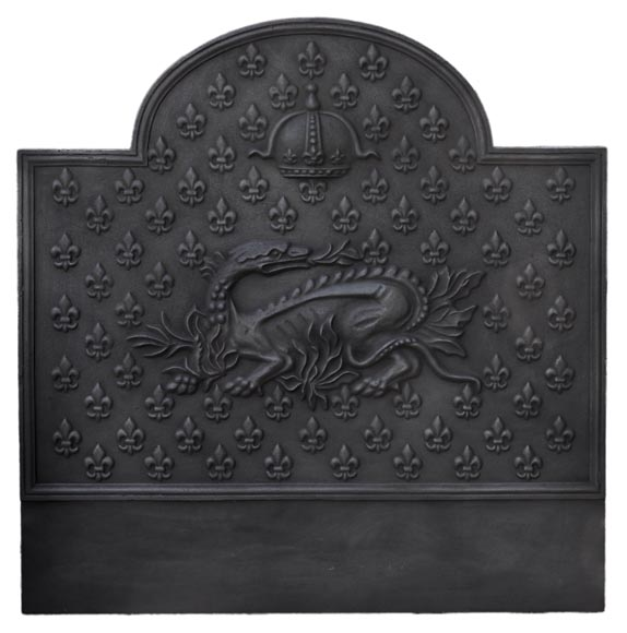 Cast iron fireback with the Salamander of King Francis Ist, 20th century - Reference 10953